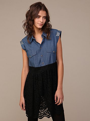 We The Free Studs And Lace Dress