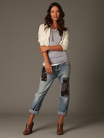 One-Of-A-Kind Patched Boyfriend Jean
