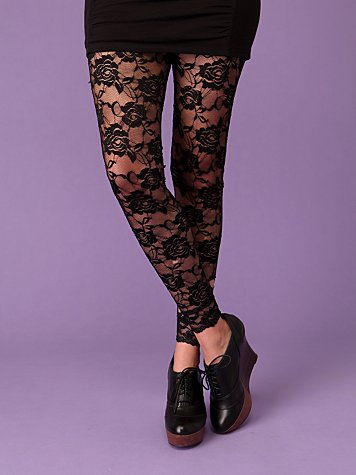 Rose Lace Footless Tight