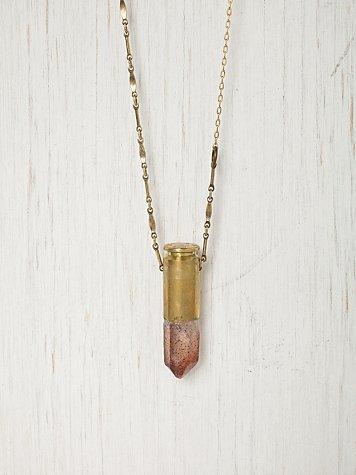 Fire Quartz Bullet Shell Necklace