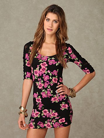 Short Sleeve Printed Bodycon Tunic