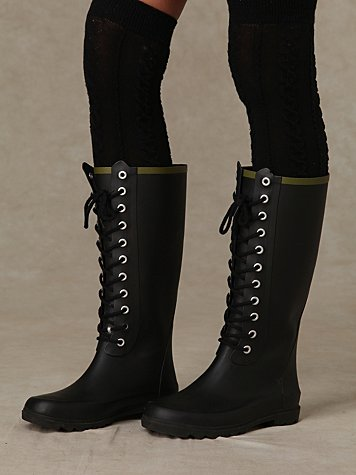 Noir Lace Up Weather Boots