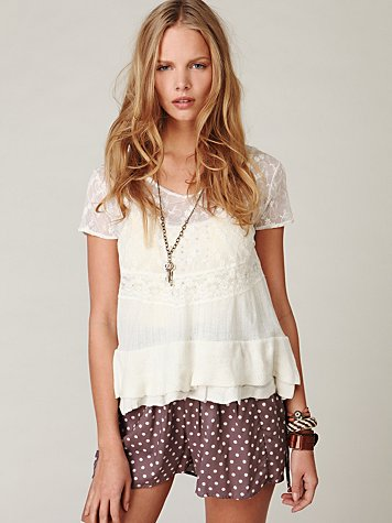 Short Sleeved Lace Inset Top
