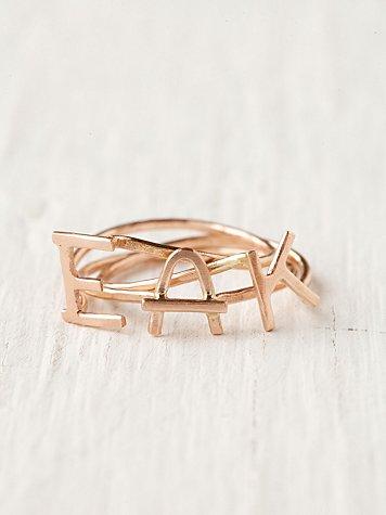 Rosegold Initial Rings