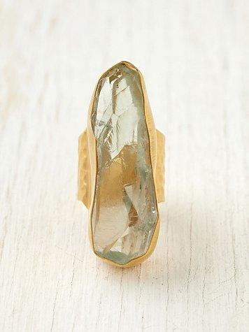 Sea Glass Garnet Ring