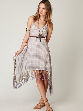 Beaded Printed Fringe Dress