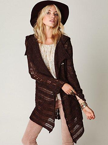 Hooded Textured Cardigan