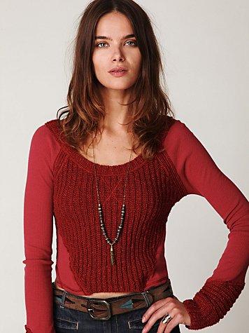 We The Free Pandora Crop Sweater Thermal