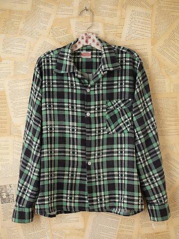 Vintage 1950s Plaid Flannel Shirt