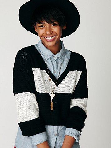 Colorblock Crop Cashmere Pullover