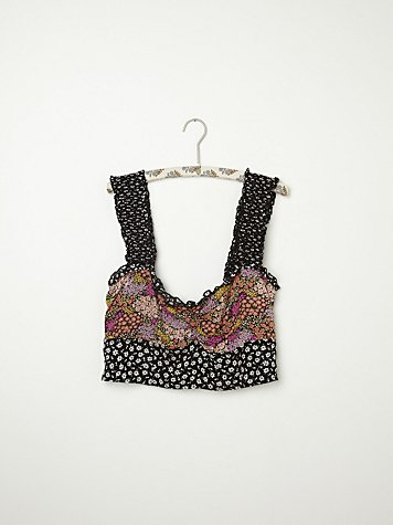 Mixed Print Ruffle Crop Top