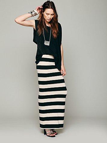 Rugby Stripe Column Skirt