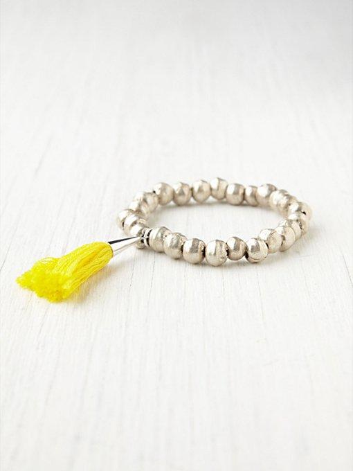 Silver Metal Prayer Bead Bracelet