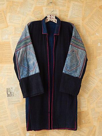 Vintage Blue Embellished Long Jacket