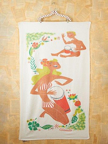 Vintage Hibiscus Flower Printed Beach Towel