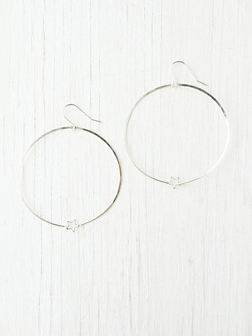 Large Hoop and Star Earrings