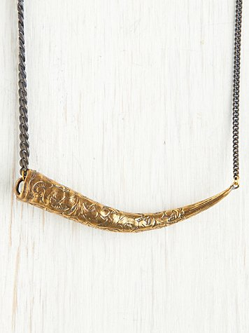 Engraved Springbok Horn Necklace