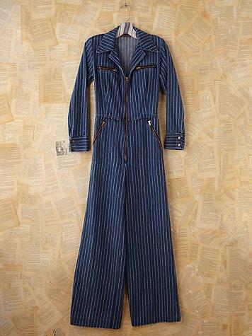Vintage Pinstripe Denim Jumpsuit