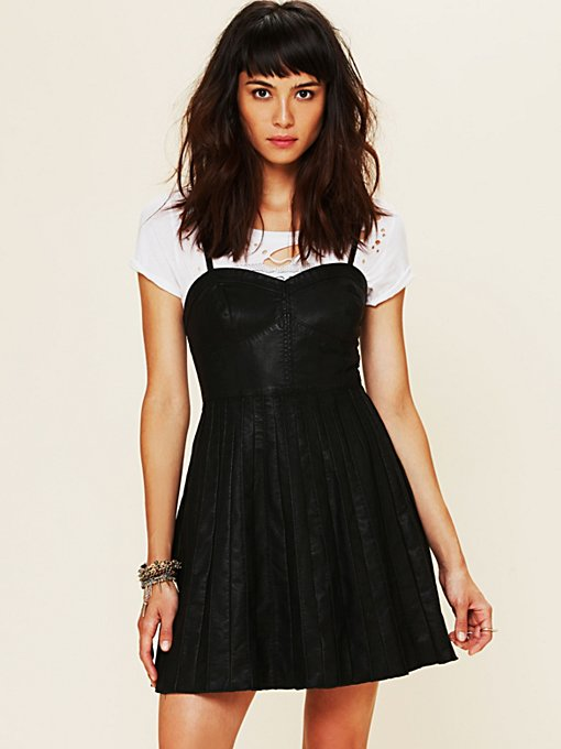 Vegan Leather Fit and Flare Dress