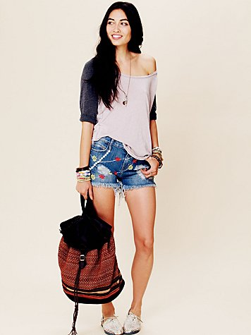 Daisy Embroidered Denim Cutoffs