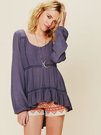 Pintuck Bubble Sleeve Tunic