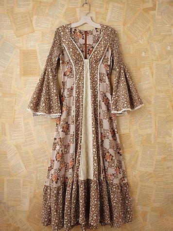 Vintage Floral Peasant Maxi Dress