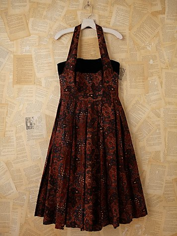 Vintage Batik and Velvet Halter Dress