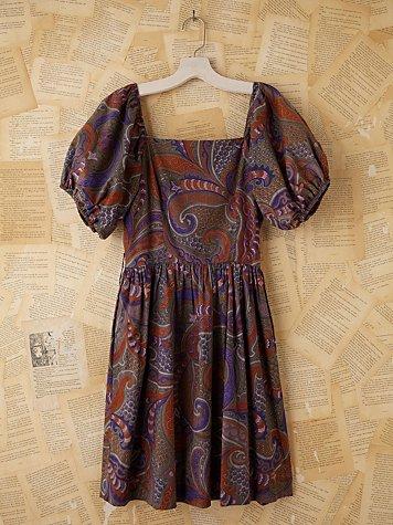 Vintage Batik Printed Bubble Sleeve Dress