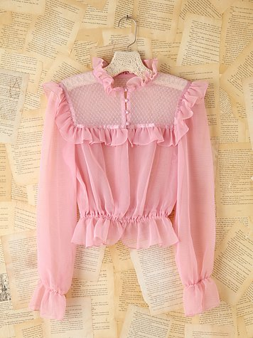 Vintage Pink Dotted Mesh Blouse