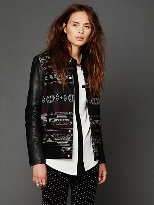 Marrakesh Leather Sleeve Jacket