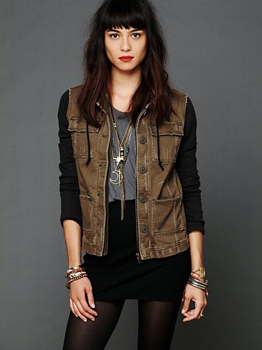 Knit Hooded Twill Jacket