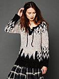 Fairisle Lace Up Pullover