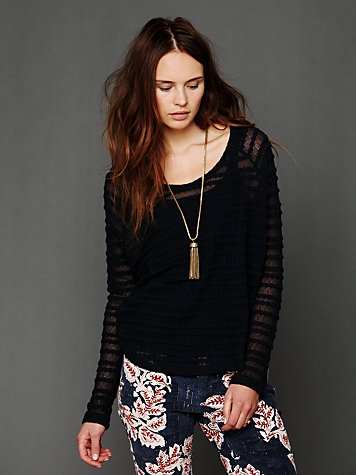 Lacey Long-Sleeve Chiffon Top