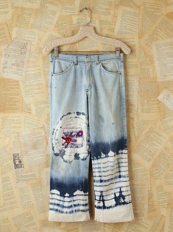 Vintage Acid Wash Jeans With Tie Dye