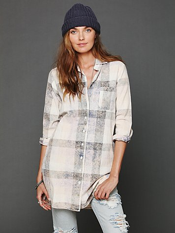 Bleached Plaid Tunic