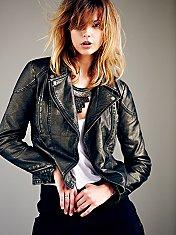 Vegan Leather Metallics Jacket