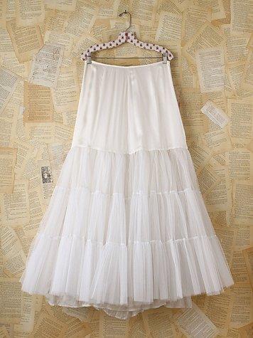 Vintage White Tulle Maxi Skirt
