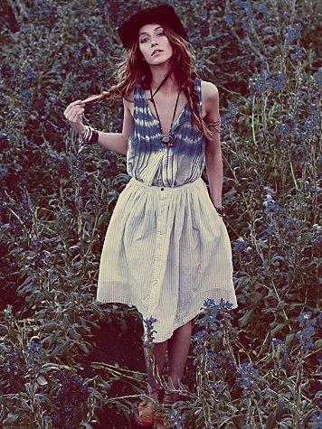 Skies of Blue Buttondown Skirt