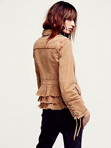 Military Ruffle Twill Jacket