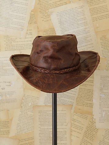 Vintage Distressed Leather Hat