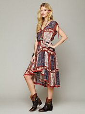 Quilted Rose Print Dress
