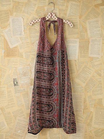 Vintage Printed Halter Dress