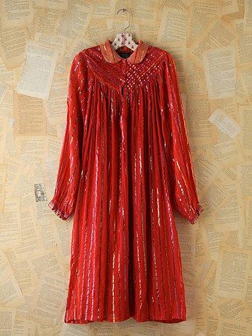Vintage Metallic Striped Boho Dress