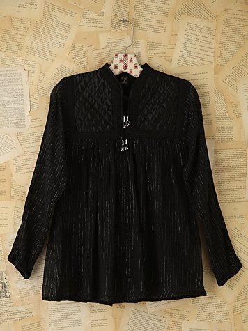 Vintage Quilted Metallic Tunic Top