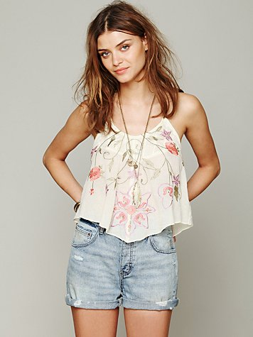 Embroidered Halter Cami
