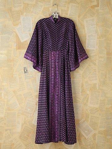 Vintage Silk Patterned Indian Dress