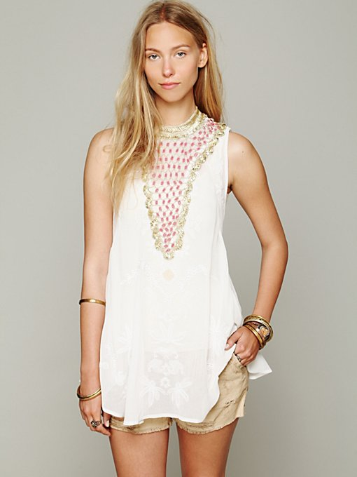 FP New Romantics Hi Neck Embellished Top