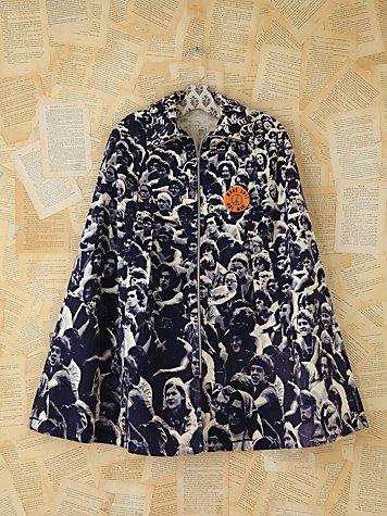 Vintage People Printed Poncho