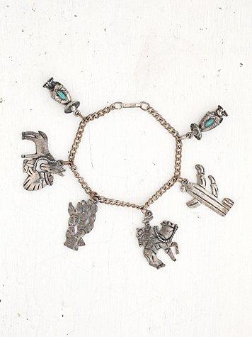 Vintage Silver Cowboy Charm Bracelet