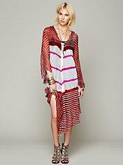 Lovely In Stripes Hooded Kaftan